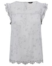 Petite floral embroidered frill trim top
