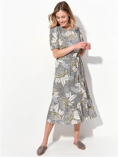 Jungle print jersey tiered dress