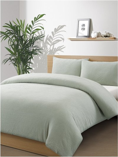 Green seersucker cotton duvet set