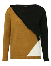 Fringe trim colour block jumper