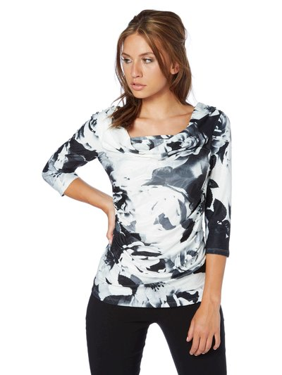 Roman Originals blurred floral print cowl neck top