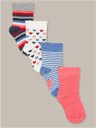 Stripe and heart socks four pack