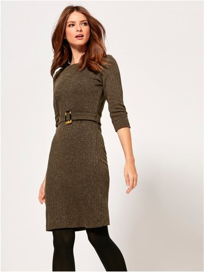 Petite ribbed belted dress