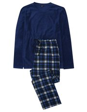 Blue check fleece pyjama set