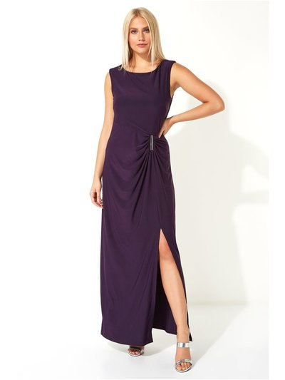 Roman Originals ruched metal bar trim maxi dress