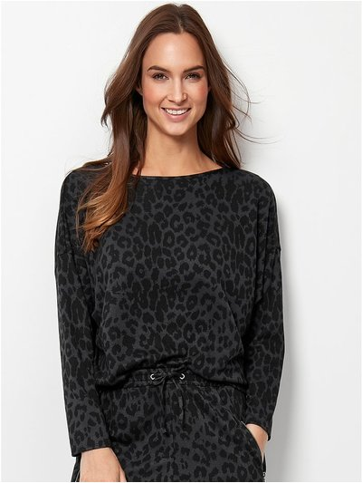 Leopard print batwing sweat top