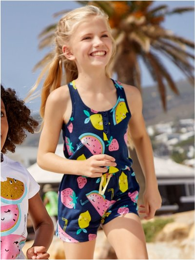 Fruit print playsuit (3 - 12 yrs)