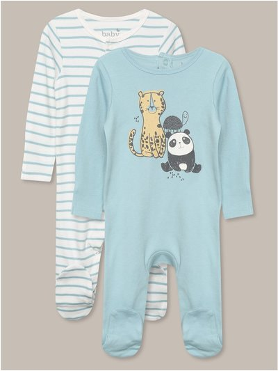 Animal pattern sleepsuit two pack (tinybaby-18mths)