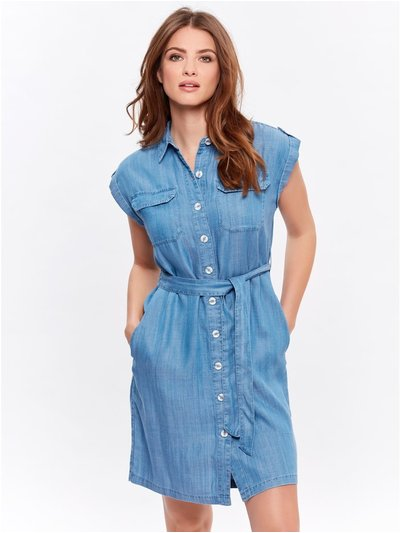 Petite tencel denim shirt dress
