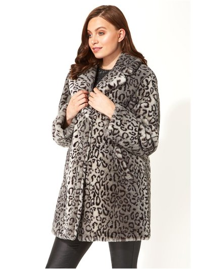 Roman Originals faux fur animal print coat
