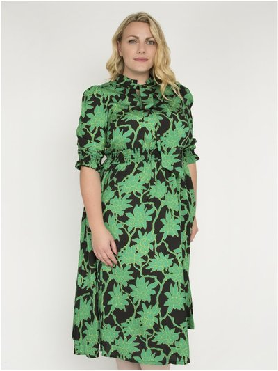 J by Jolie Moi print tie neck midi dress