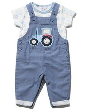 Tractor Applique Dungarees and T-Shirt Set