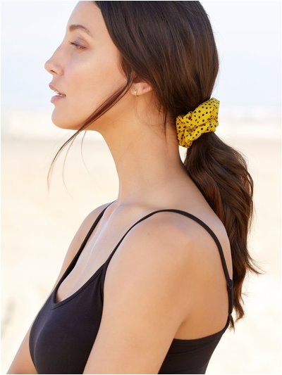 Muse ochre spot print hair scrunchie