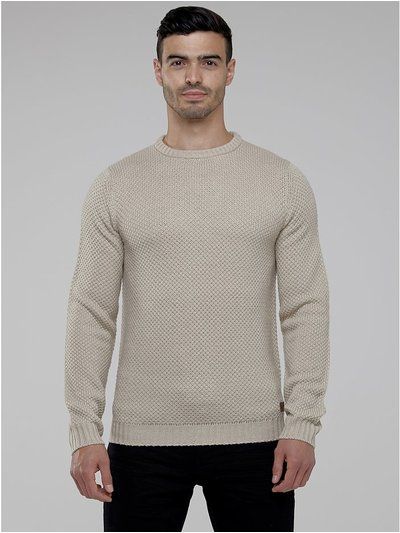 Textured knit crew neck jumper
