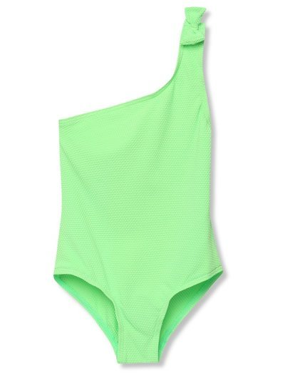 Green one shoulder swimsuit (3-12yrs)