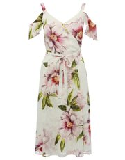 Floral print cold shoulder wrap dress