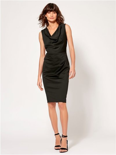 Cowl neck ruched pencil dress
