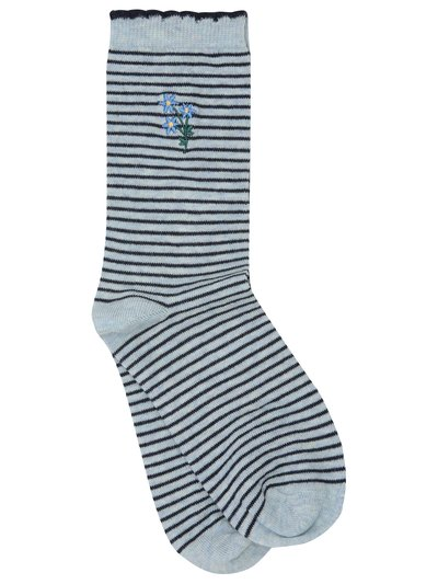 Stripe embroidered socks