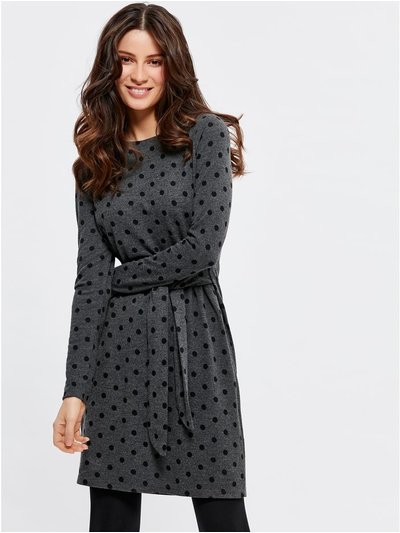 Spot tie front tunic dress