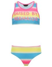 Teens' mermaid slogan ombre bikini