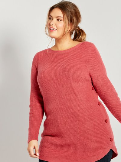Plus ribbed button trim jumper