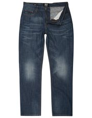 Faded mid wash straight leg jeans