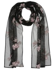 Floral embroidered mesh scarf