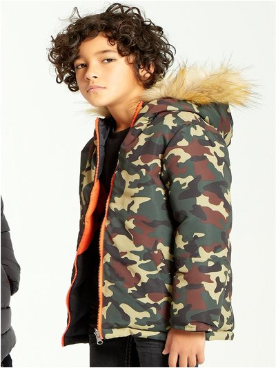 Camo stripe reversible puffer coat (3-12yrs)