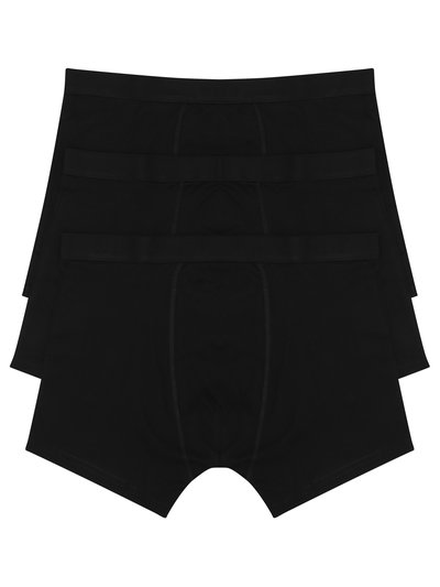 Cotton plain black trunks three pack