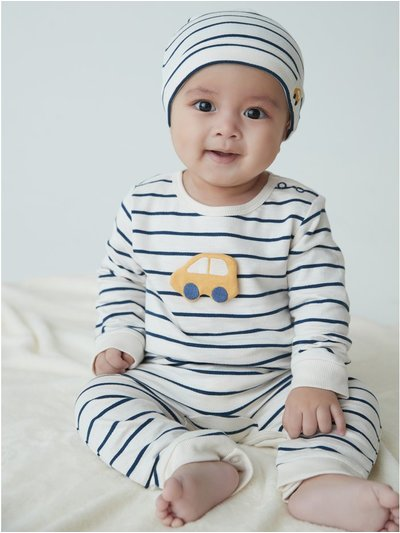 Stripe romper and hat set (newborn-18mths)