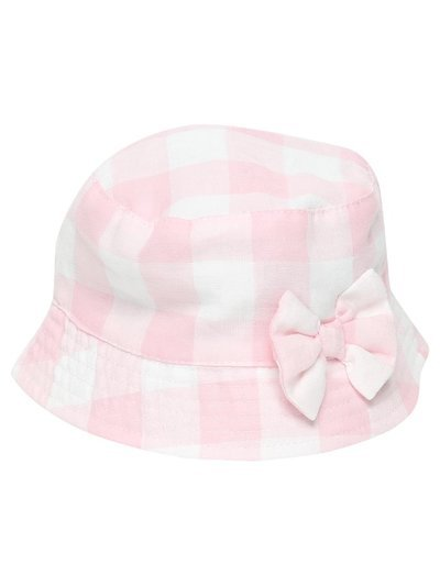 Pink gingham bucket hat (0-6mths)