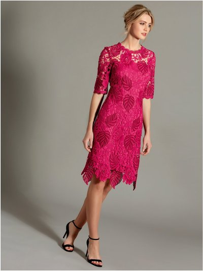 Floral leaf lace dress