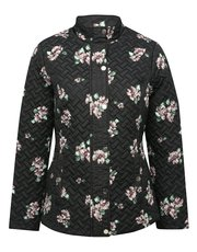 Floral print quilted coat