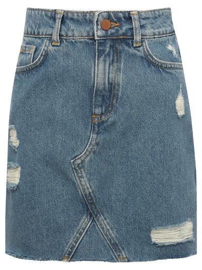 Teen ripped denim skirt