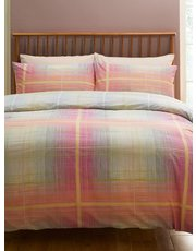Pink check duvet set