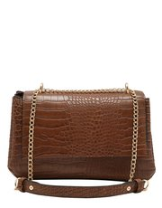 Tan croc shoulder bag