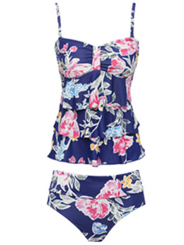 Purple Floral Tankini Set