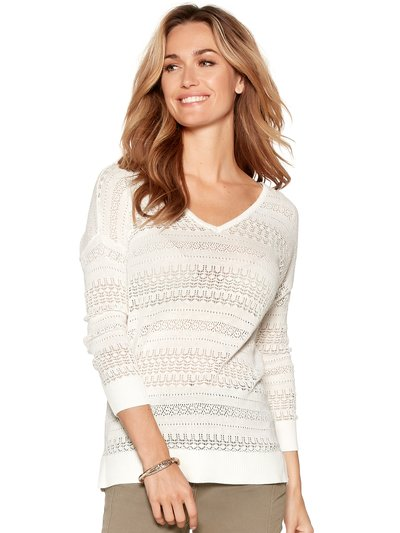 Pointelle v neck jumper