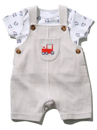 Train embroidered top and bibshort set (Newborn - 18 mths)