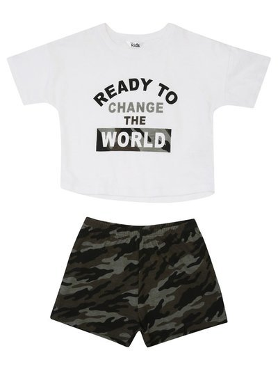 Camo slogan pyjamas (4-12yrs)