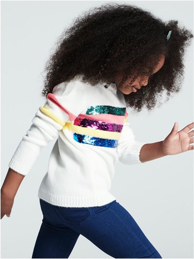 Sequin stripe jumper (3 - 12 yrs)