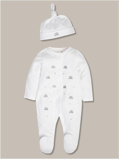 Elephant sleepsuit and hat (tiny baby-12mths)