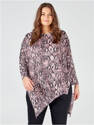 Blue Vanilla Curve snake print slash neck top