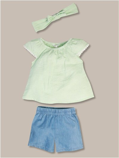 Gingham top and denim shorts set (0-18mths)
