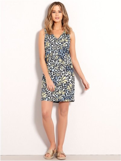 Petite leopard floral linen blend dress