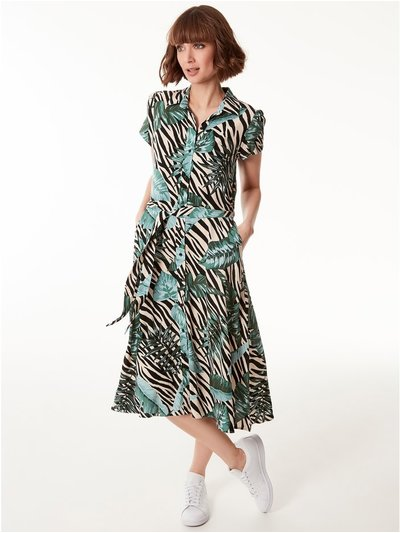 Animal palm print midi shirt dress