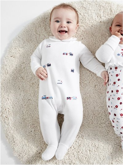 Train velour sleepsuit (Tiny baby - 18 mths)