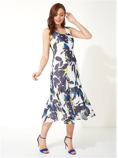Roman Originals floral bias cut midi dress