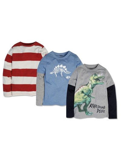 Stripe and dino tshirts three pack (3-12yrs)