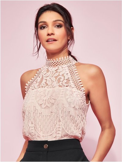 GLAMOUR crochet lace halter neck top